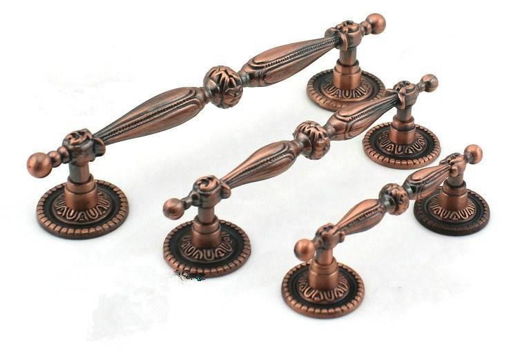 Fashion 8pcs 128mm Red Bronze Modern Decorative Knobs Antique Kitchen Armoire Hardware Granite Drawer Pulls Knobs