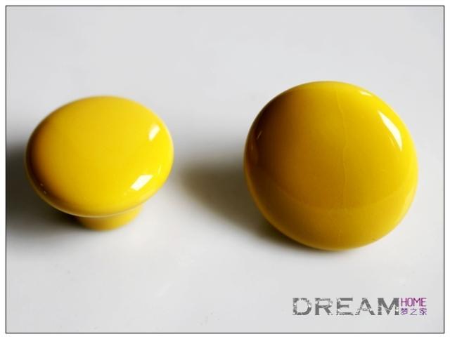 AP38CY 38mm diameter large round yellow ceramic knob for drawer ...