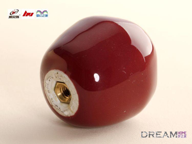 Single Hole Red Apple Fruit Cartoon Ceramic Knobs For