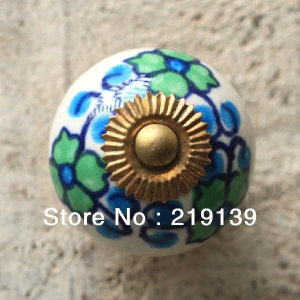 1pc Flower Blue Furniture Cabinet Handles Kitchen Door Wardrobe Ceramic  Cabinet Knobs Pulls