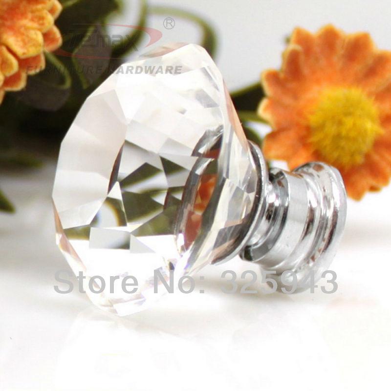 Modern Fashion Chrome K9 Crystal Glass Cabinet Knobs Pull
