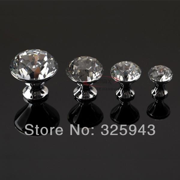 2pcs 40mm Modern K9 Crystal Door Knobs And Handles Glass Dresser