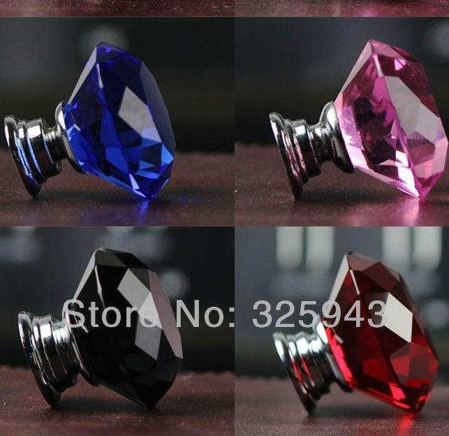 2pcs 30mm Zinc Alloy Clear Glass Crystal Glass Cabinet Knobs And Handles Dresser Knob Kids Pulls