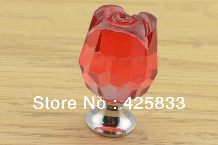 10pcs K9 Red Crystal Rose Knobs Furniture Kitchen Handles Drawer Pulls  Dresser Knobs Cabinet Hardware Colour