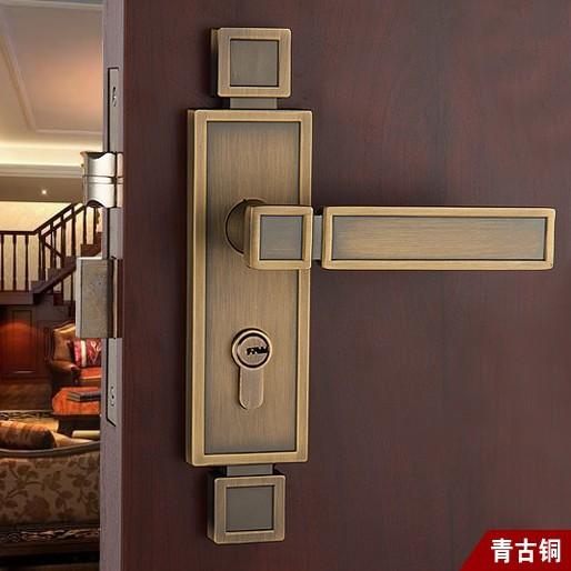 Chinese antique LOCK Antique brass Door lock handle Double latch
