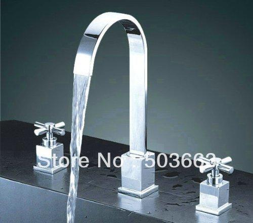 3 Hole Two Handle Chrome Finish Brass Faucet Mixer Tap Bathroom Bathtub Fauce