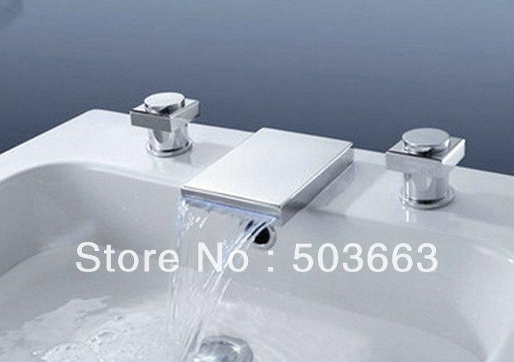 3 Pcs 2 Handle Deck Mounted Bathroom Basin Sink Led Faucet Mixer Tap ...