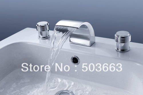 3 Pcs Big Spray Tap 2 Handle Waterfall Bathroom Basin Sink Bathtub Mixer Faucet Chrome Finish
