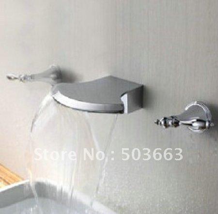 3 Piece Sets Bathtub Wall Mounted Faucet Bathroom Polished Chrome Mixer Tap Cm0332 Bathtub