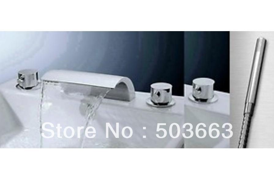 5 Pisces Waterfall Bathroom Basin Mixer Tap Bathtub Three Piece Faucet Set Ys 8910k Bathroom