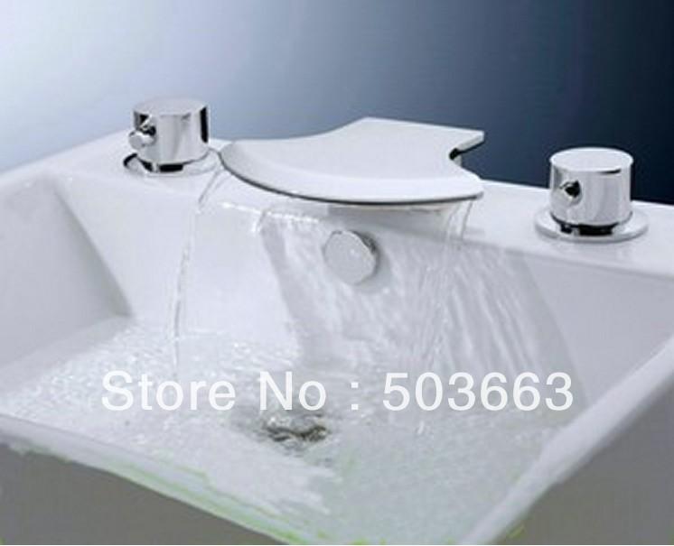 5 Pisces Waterfall Bathroom Basin Mixer Tap Bathtub Three Piece Faucet Set YS
