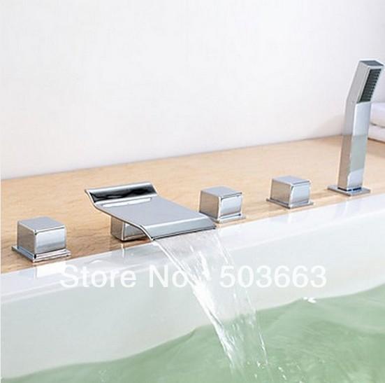 Luxury Bathroom Knobs 5 pcs luxury bathroom chrome finish basin faucet sink mixer tap