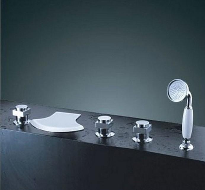 piece Set Bathroom Ceramic valve Tap Chrome Sink Contemporary Tub ...