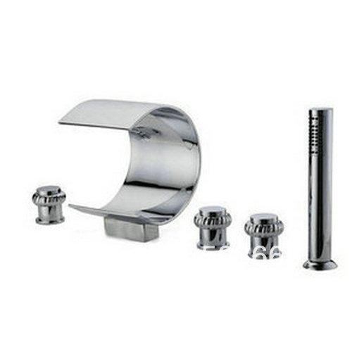 Beautiful 5 Piece Set Big Waterfall Bathroom Tap Chrome Sink Tub Brass Faucet Cm0519 Bathroom