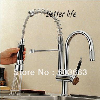 double spouts chrome kitchen sink mixer tap pull out kitchen