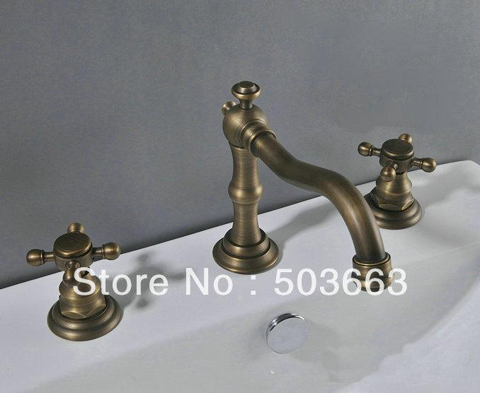 Luxury Antique Brass Double Handle Bathroom Basin Mixer Tap Sink Faucet Vanity Faucet Bath