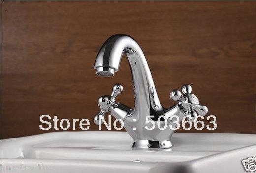 Luxury surface chrome double handle bathroom basin faucet for Double bathroom sink basin