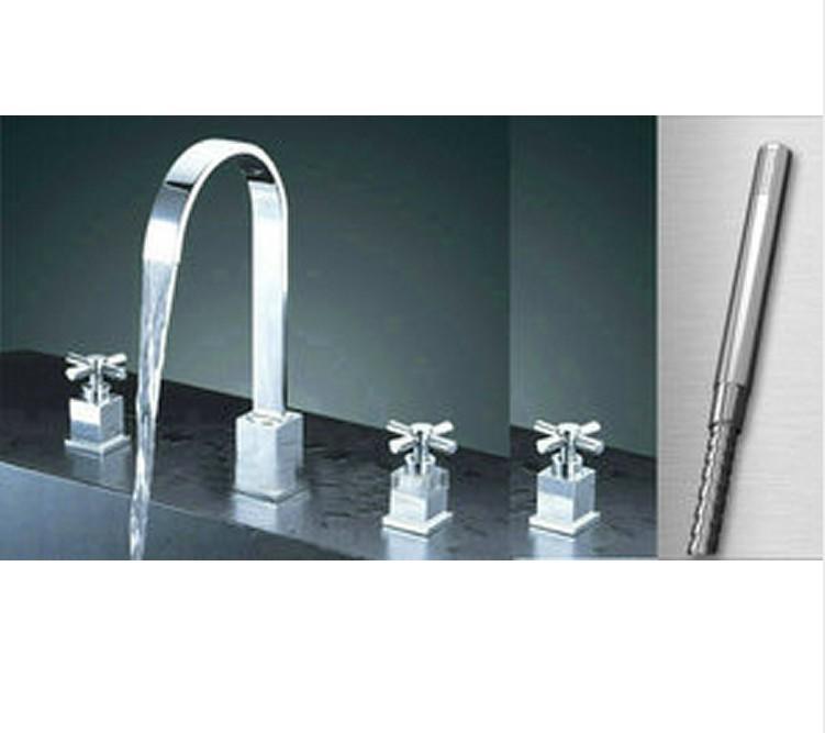 Nice Chrome 5 Piece Set Faucet Bathroom Sink Mixer Tap Cm0430 Bathroom Faucet 3 Or 5 Piece Set