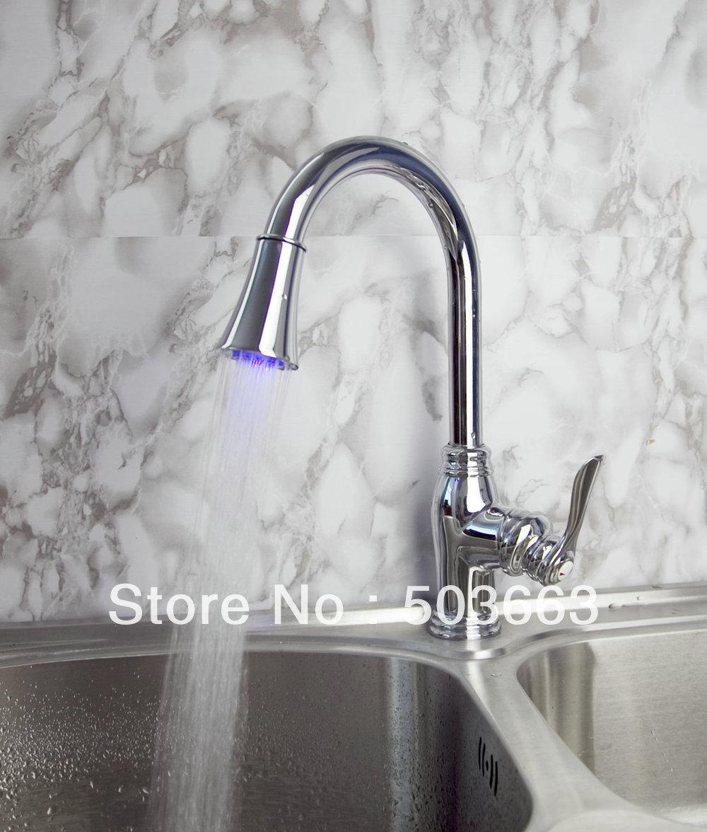 Novel Design Single Handle Kitchen Swivel Sink Led Faucet Spray Head Mixer  Tap Vanity Faucet Crane