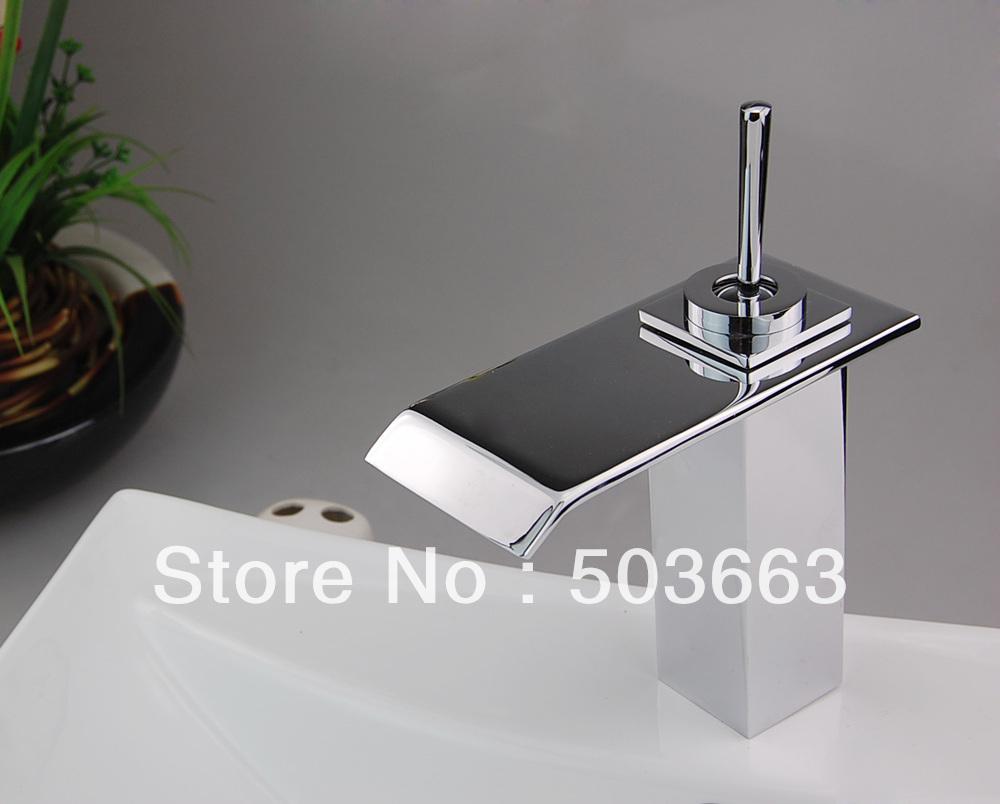 Single Hole Bathroom Chrome Waterfall Faucet Brass Mixer Tap L 0121 Bathroom Faucet 218