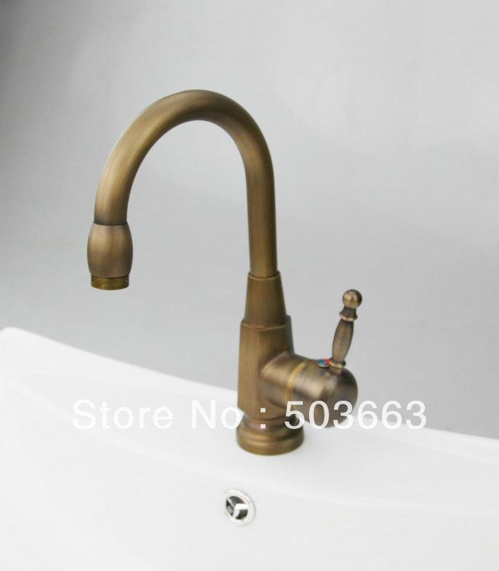 Single Hole Deck Mounted Antique Brass Mixer Waterfall
