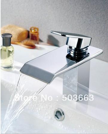 Single Hole Waterfall Bathroom Basin Faucet Sink Mixer Tap Chrome Faucet Vessel Mixer L 0203