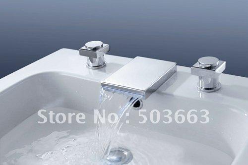 Square Body New 3pcs Bathtub Basin Sink Waterfall Spout Mixer Tap Chrome Faucet Set Cm0373