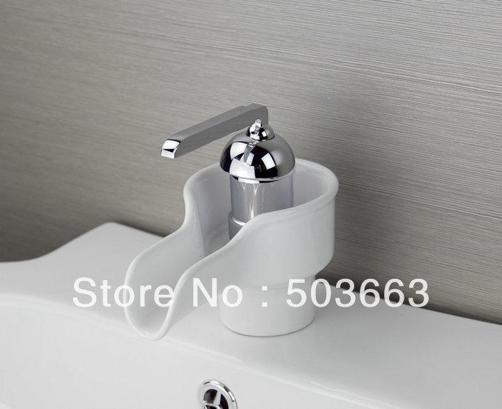 White Ceramic Bathroom Ceramic Waterfall Spout Faucet Basin Faucet Sink Mixer Tap Vanity Faucet
