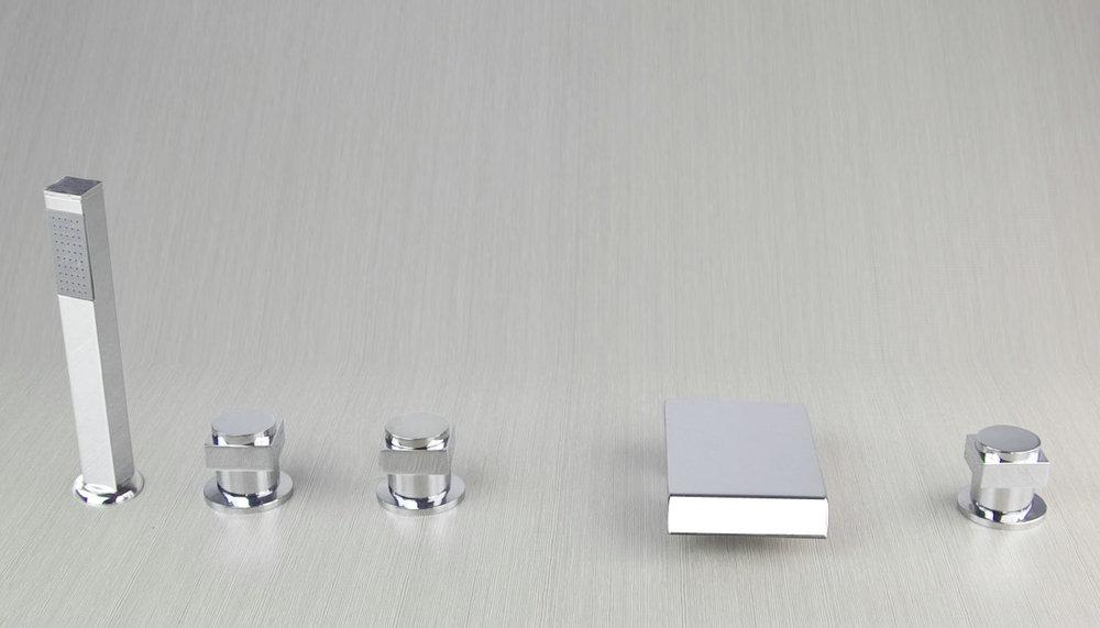 Wholesale 5 Pcs 3 Handle Chrome Deck Mounted Bathroom Basin Sink Faucet Vanity Mixer Tap S 03