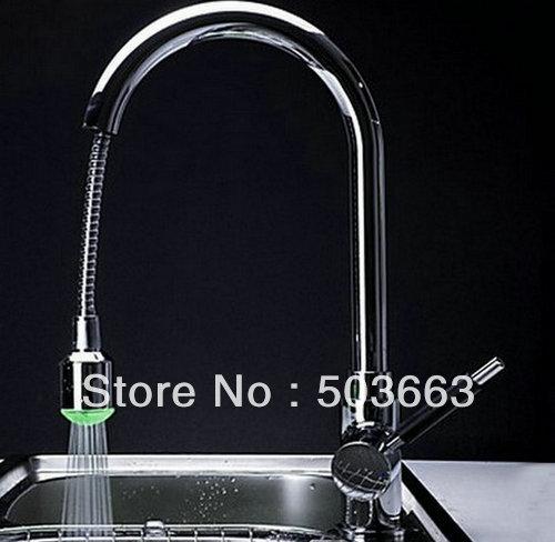 Kitchen Sink Faucet Pull Out Faucet Mixer Valve Single: Wholesale New Single Handle Extensible LED Kitchen Sink