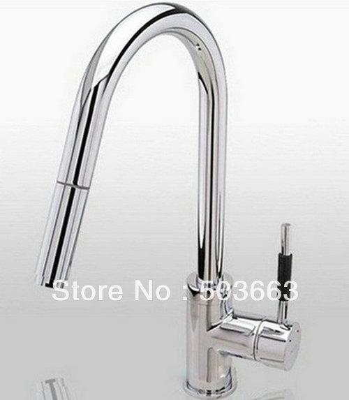 Kitchen Sink Faucet Pull Out Faucet Mixer Valve Single: Wholesale Single Handle Chrome Kitchen Brass Faucet Basin