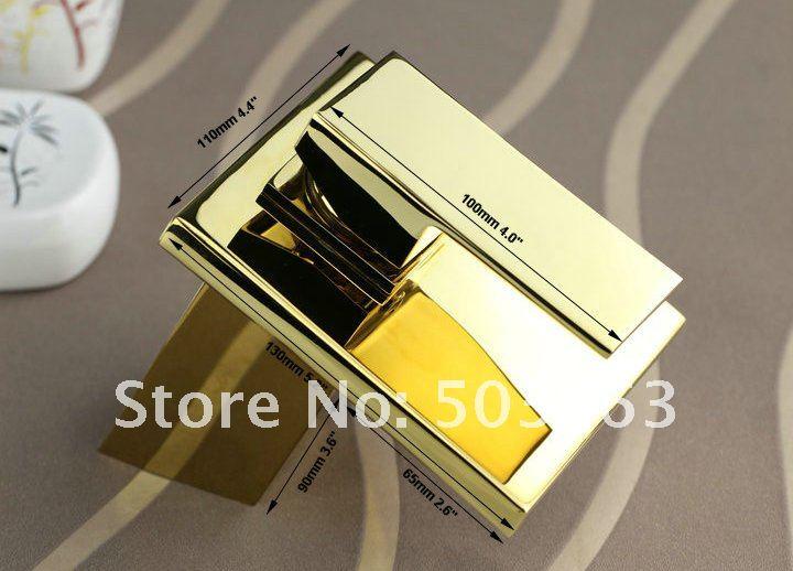 Square Kitchen Faucet Polished Golden Bathroom Basin Sink Mixer Tap Cm0292 G