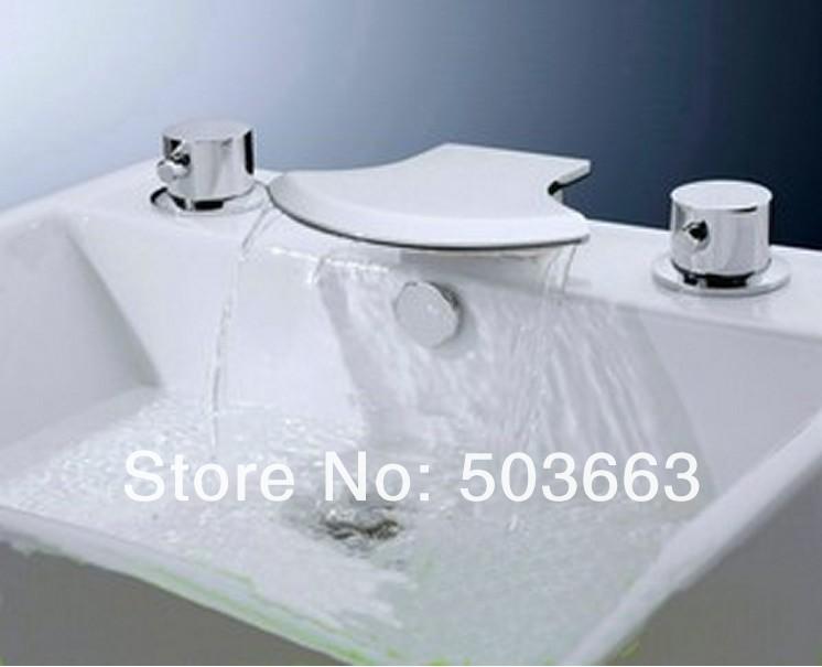 5 Pisces Waterfall Bathroom Basin Mixer Tap Bathtub Three Piece Faucet Set Ys 8912k Bathroom