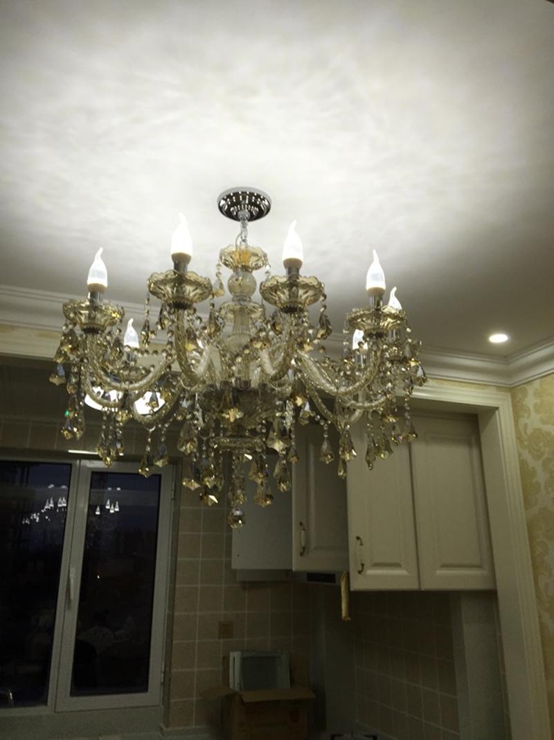 Ceiling crystal chandelier led european candle crystal chandeliers ceiling wrought iron - Ceiling crystal chandelier ...