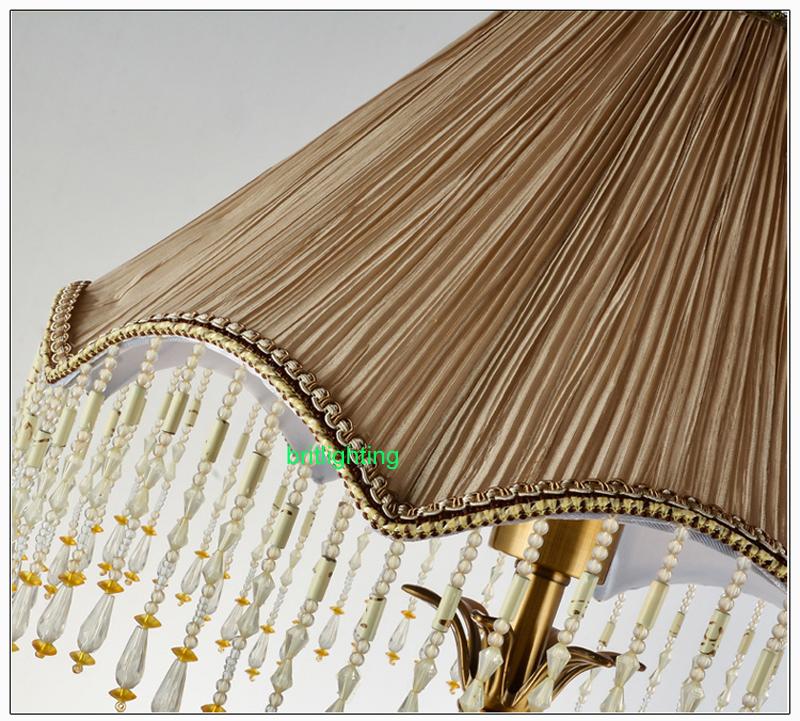 Modern Table Lamp Living Room Fabric Decorative Bronze Bedside Lights Led Bedroom