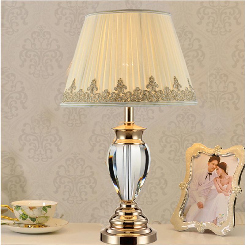 White Table Lamp Modern Bedside Tables Crystal Lighting Study Room Wedding Table Lights Fabric