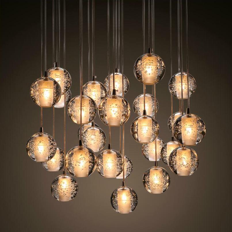 led crystal pendant lamps lighting g4 12dc retrofitted 3w bulbs stair lights crystal ball loft light banner5 stair lighting