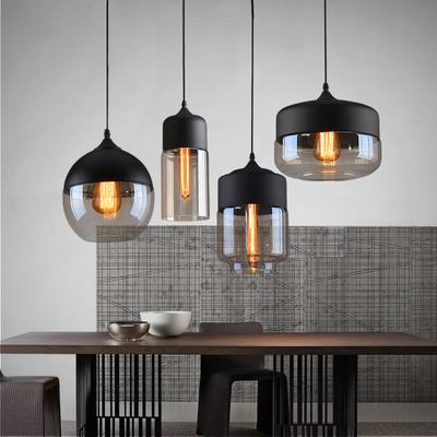 Loft vintage pendant light art glass black white gray for 2 kitchen ct edison nj