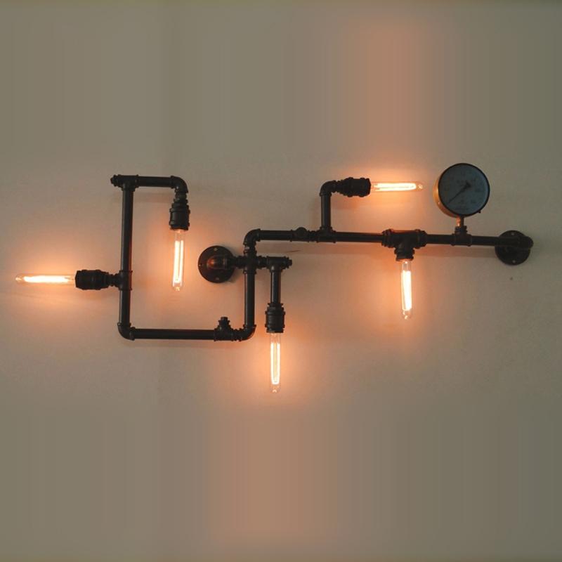 loft vintage water pipe wall lamp 5 lights bar restaurant rh iron industrial style e26 e27 ...
