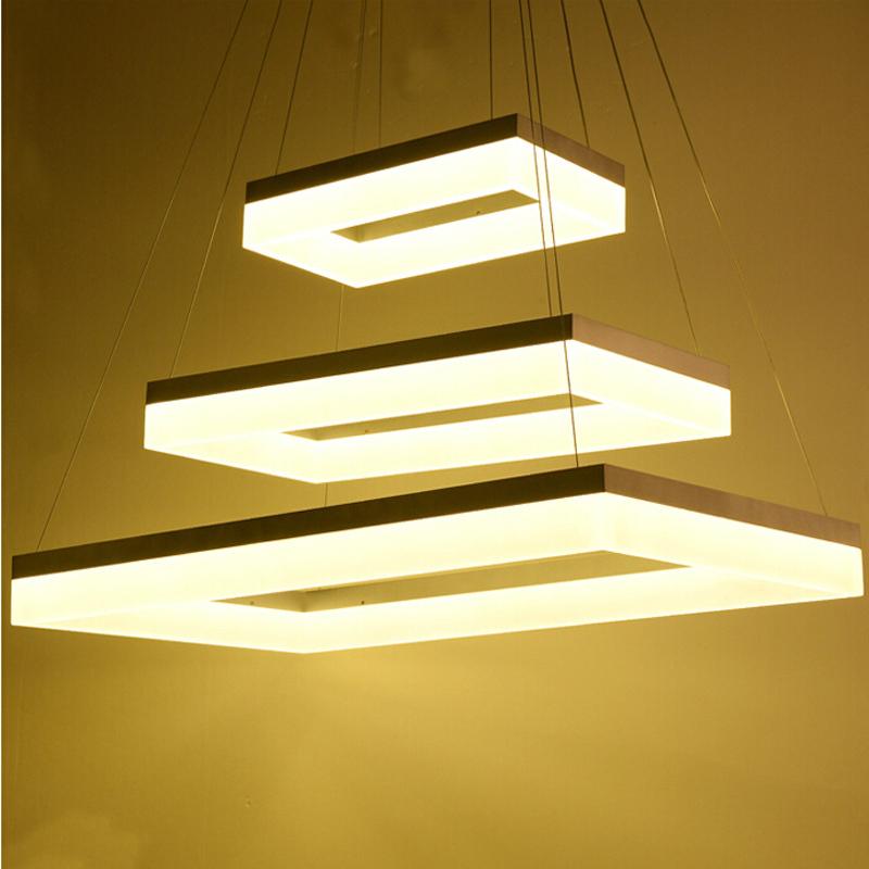 Modern Led Pendant Lamps Led Pendant Light Square Frames White Painting  90 265v Led Suspensnion