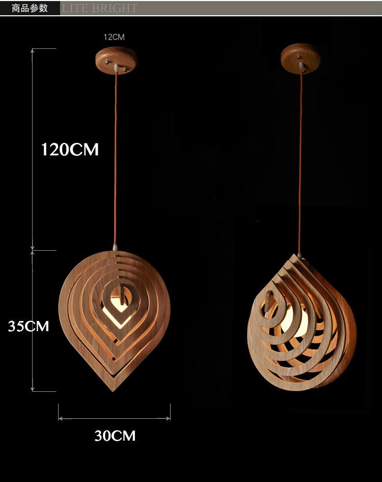 Wooden water drop shape pendant lamp handmade nordic light - Luminaire suspendu table cuisine ...