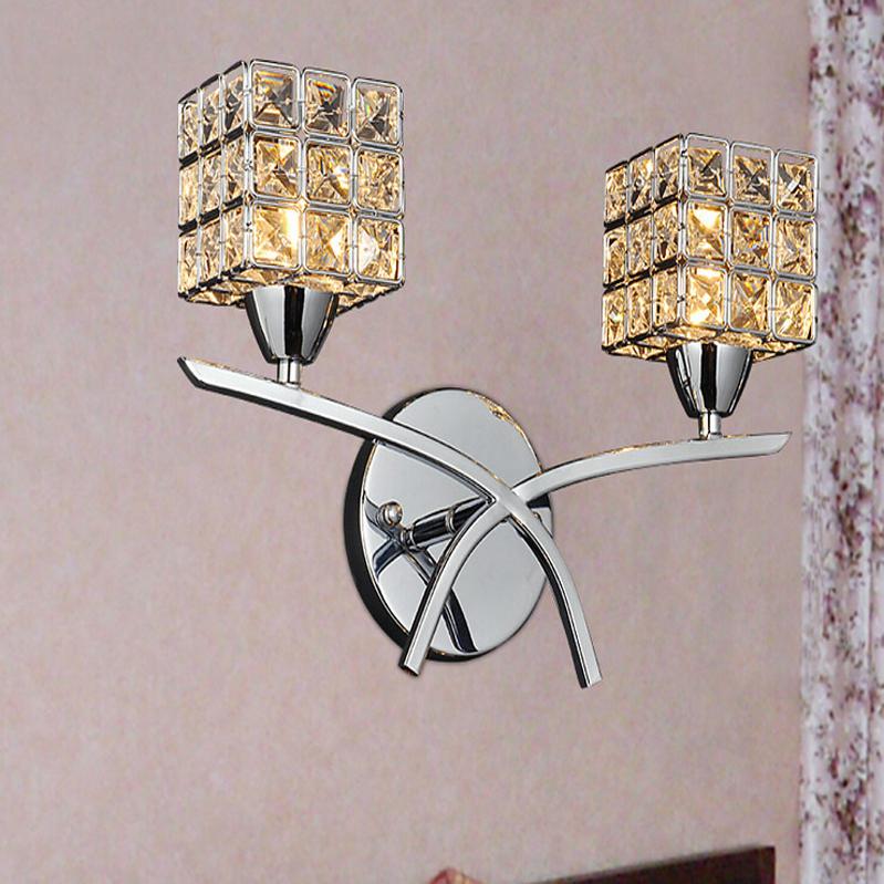 New Chrome Crystal Wall Light Modern Bedroom Beside Lamp