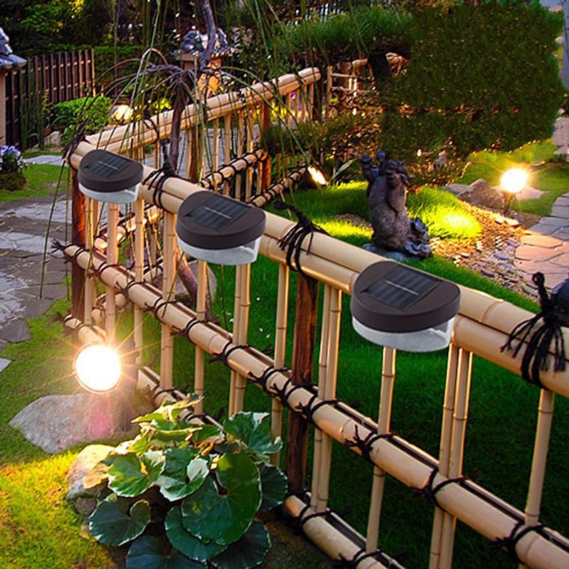 solar powered led fence light outdoor gardern landscape wall