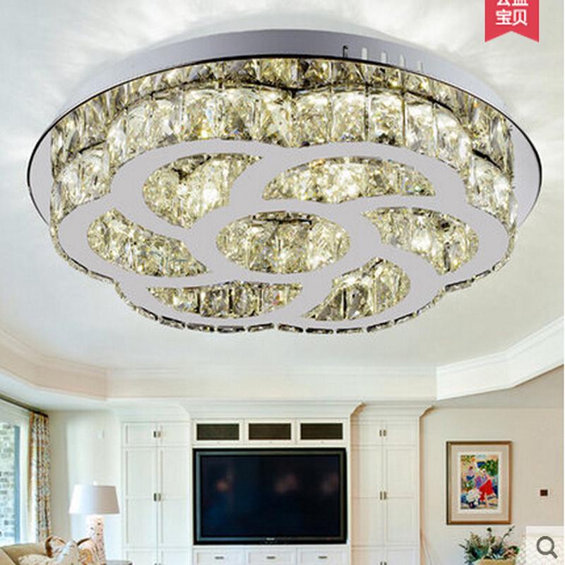 New round led ceiling light cystal flush mount light crystal ceiling lamp modern led light for for Flush mount ceiling lights living room