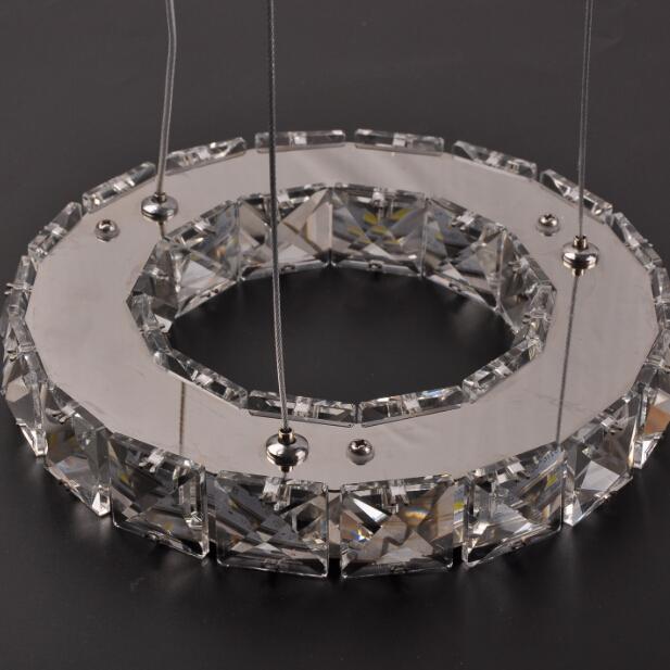 silver crystal ring led chandelier crystal lamp light