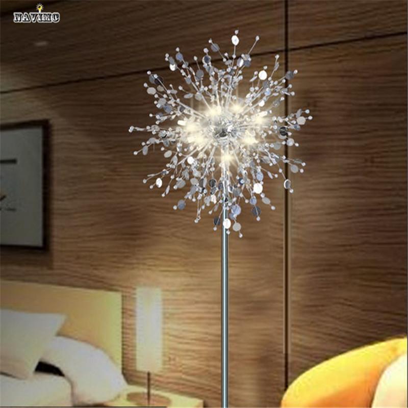 Crystal Living Room Stand Floor Lamp Modern Flower Floor Light For Bedroom  Foyer Nordic American Style