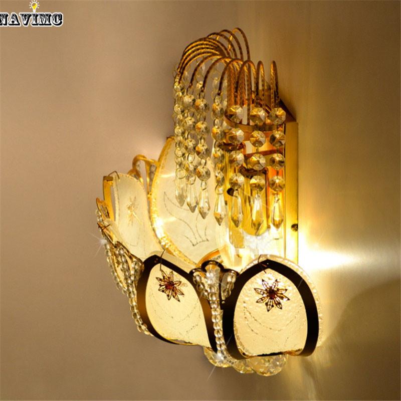 Gold Crystal Led Wall Sconces Lamps For Bedroom Living Room Bedside Bathroom Closet Night Light Modern