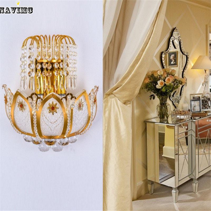 gold crystal led wall sconces lamps for bedroom living room bedside bathroom closet night light ...
