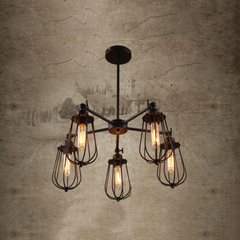 large vintage loft black wrought iron spider chandelier ...