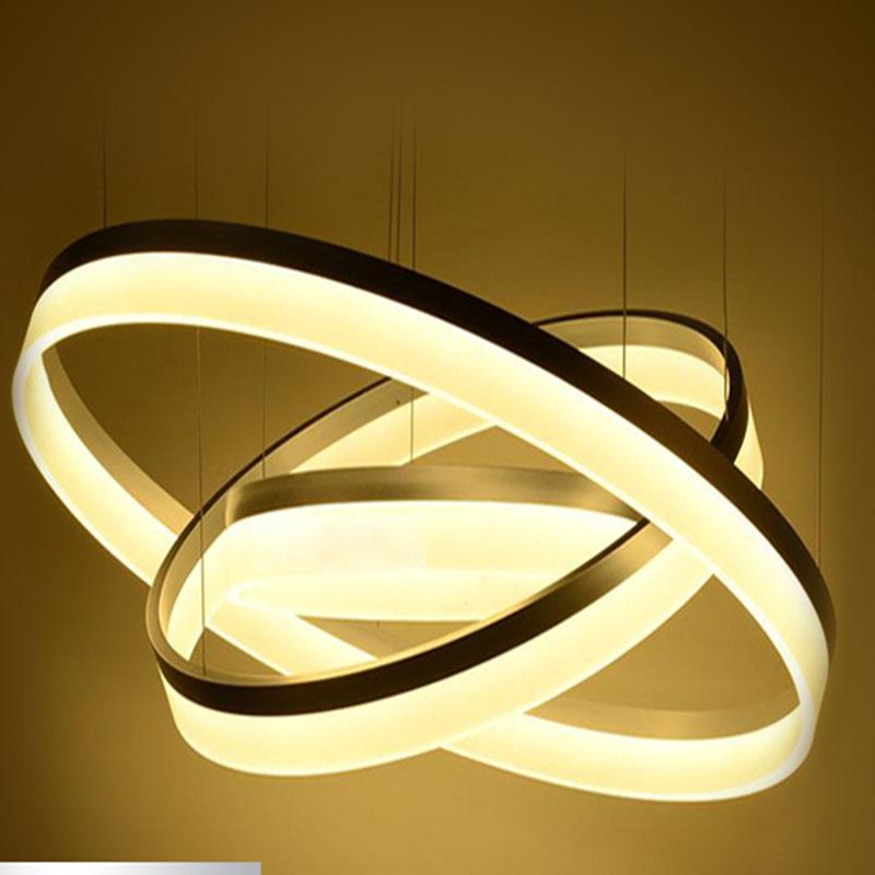 Modern Chandelier Acrylic Lamps 3 Ring Led Fashion Designer Hanging Lamp Circle